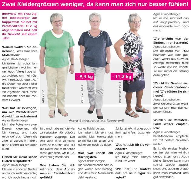 ParaMediForm Lenzburg gratuliert Frau Agnes Baldensberger aus Rupperswil zur erfolgreichen Gewichtsabnahme!