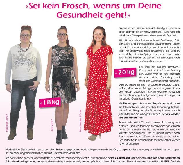 ParaMediForm Lenzburg gratuliert Frau Dora Zienke aus Hunzenschwil zur erfolgreichen Gewichtsabnahme!