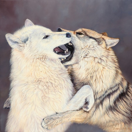 """Fun and Games"" - 28""x 28"" Oil on Linen Wolves- Prints Available"
