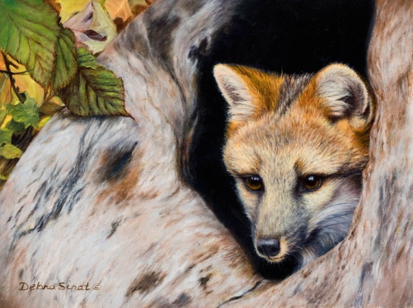 """Safe and Sound"" - 9""x 12"" Oil on Linen Gray Fox"