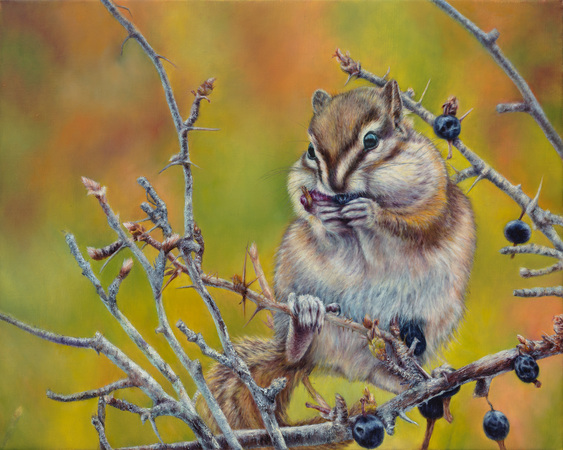 """Tiny Treasures"" - 14""x 18"" Oil on Linen- Chipmunk- Prints Available"