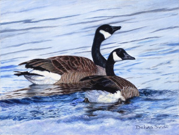 """A Perfect Pair"" - 8""x 10"" Oil on Linen Study of Geese"