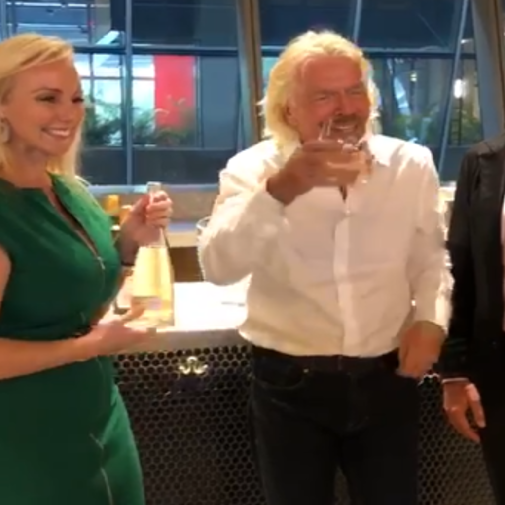 Richard Branson video drinking cote des roses at miami station